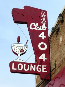 Old Club 404 Lounge sign by Adam Holloway, used with permission.