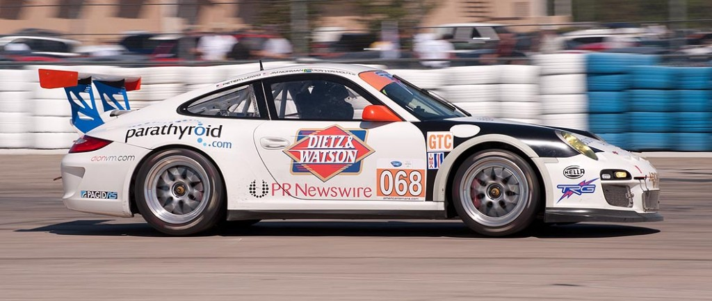 TRG Porsche 911 GT3 Cup car 068 exits turn 17a