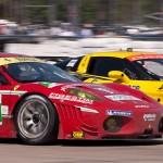 Corvette Racing car 03 passes AF Corse Ferrari car 51 exiting turn 17a
