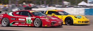 Corvette Racing car 03 passes AF Corse Ferrari car 51 exiting turn 17a