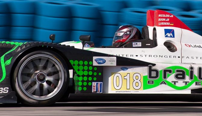Performance Tech Motorsports Oreca car 018 in turn 5