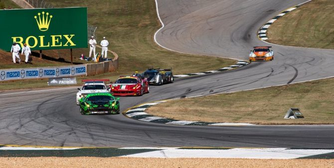 Tequila Patron Ferrari 458 GT leads the pack through the Esses