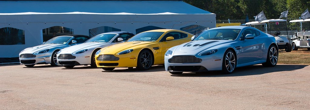 A small and lovely fleet of Aston Martins spied near the back straight