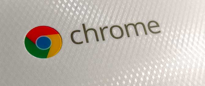 "Google's Chrome logo on the lid of an Acer 11"" Chromebook."
