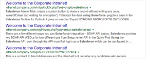 Mock-up of a search result page where all the results have the same title.