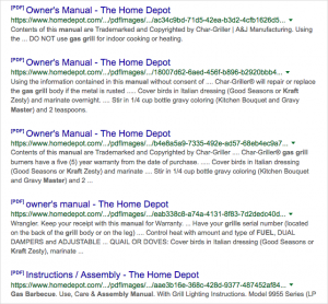 "Home Depot has the same problem: many PDFs titled ""Owner's Manual"" in Google search"