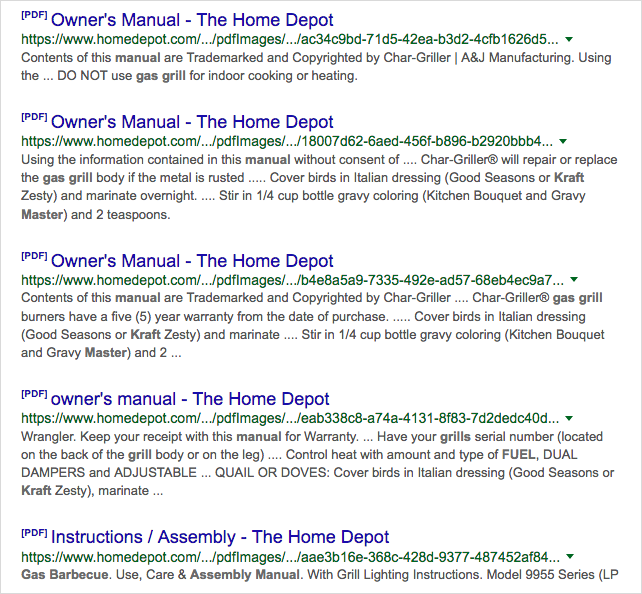 """Home Depot has the same problem: many PDFs titled """"Owner's Manual"""" in Google search"""